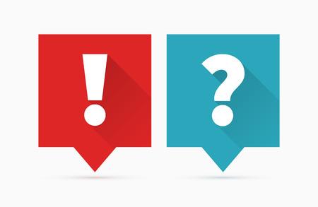 signo de admiracion: Preguntas y respuestas icono, dise�o plano