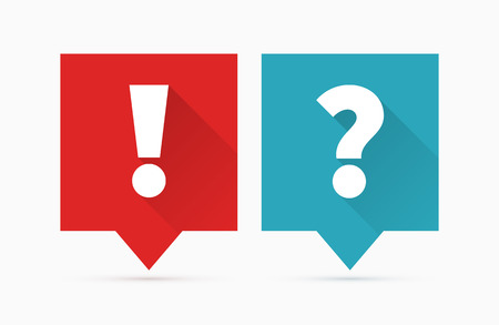 questions: Question and answers icon, flat design