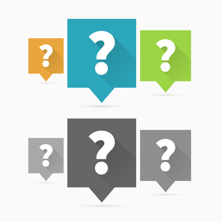 Question icons, question mark flat design