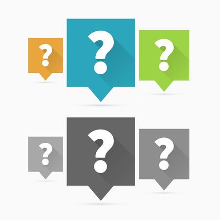 Vraag iconen, vraagteken plat ontwerp