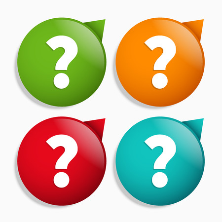 questions: Question icons, question mark on pointer