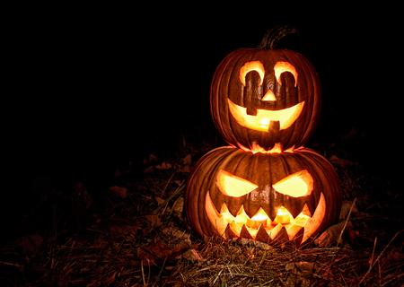 pumpkin face: Halloween pumpkin lantern , Jack-o-lantern Stock Photo