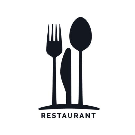 cuchillo: Gastronomía - restaurante símbolo, tenedor, cuchillo y cuchara, logotipo de la plantilla