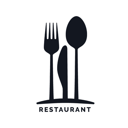 knife and fork: Gastronomy - Restaurant symbol, fork, knife and spoon, logo template
