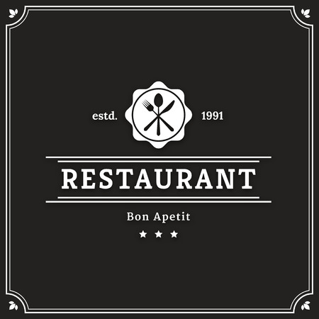 knife fork: Restaurant graphic design logo template, vintage insignia Illustration