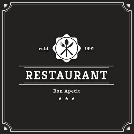Restaurant graphic design logo template, vintage insignia Illustration