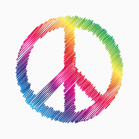 Doodle symbool van de vrede met regenboog fill
