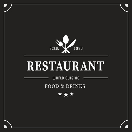 Restaurant graphic design logo template, vintage insignia 矢量图像