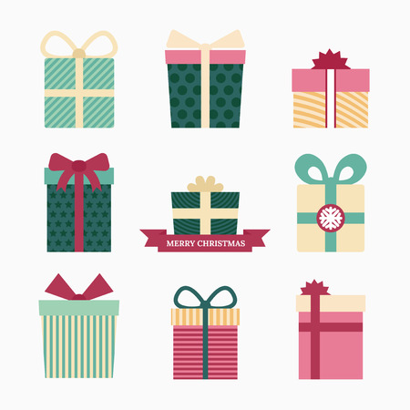 Conjunto de símbolos de regalo, elementos de diseño gráfico Foto de archivo - 46527744