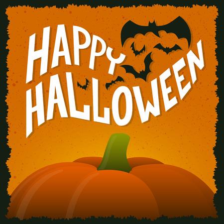 Halloween pumpkin, Happy Halloween greeting card Vectores