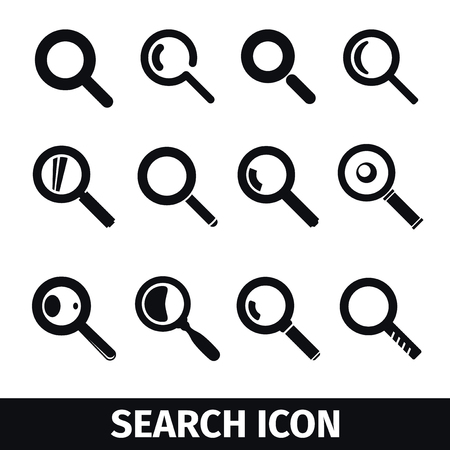 find: Magnifier symbols set, Search icon