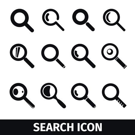 simbolo: simboli Magnifier, ricerca delle icone Vettoriali