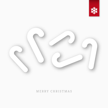 canes: White paper christmas candy canes with shadow Illustration