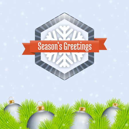 merrychristmas: Seasons Greetings label and fir with christmas ball ornaments