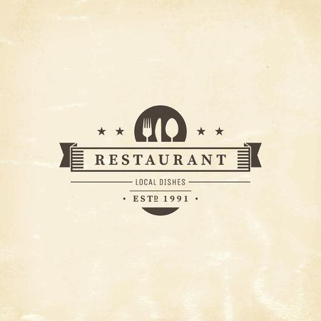 레스토랑 그래픽 디자인 로고 템플릿, 빈티지 휘장