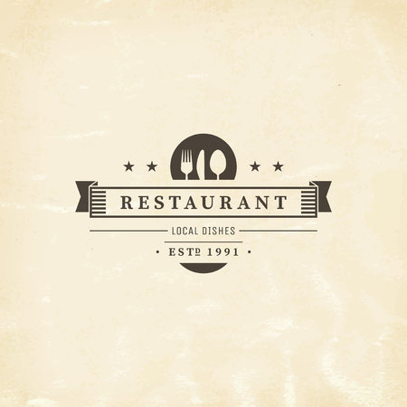 knife and fork: Restaurant graphic design logo template, vintage insignia Illustration