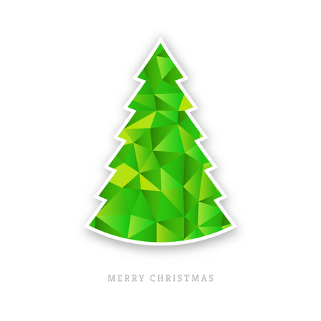 graphic art: White paper christmas trees with shadow