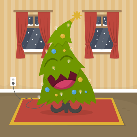 laughing: Happy laughing christmas tree character in warm home