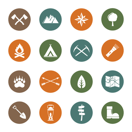 summer vacation: Expedition, Camping, Wilderness icons set
