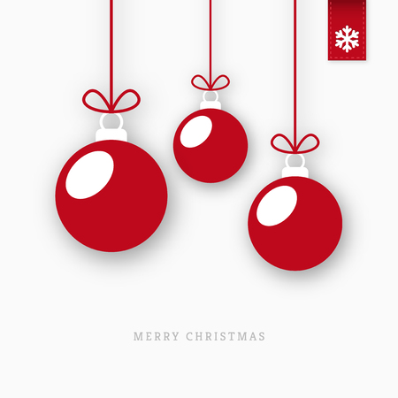 christmas balls: Red paper christmas balls ornaments with shadow Illustration