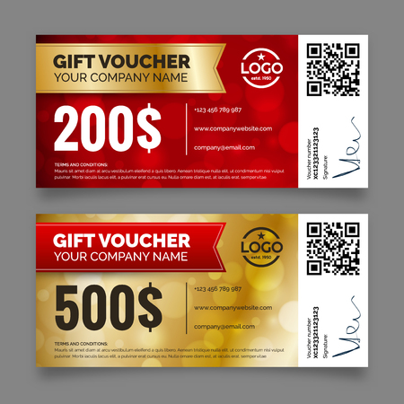 Gift voucher template premium certificate coupon Иллюстрация