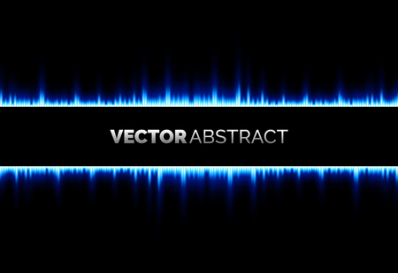 Abstract blue light lines on black background, vector graphic design Ilustrace