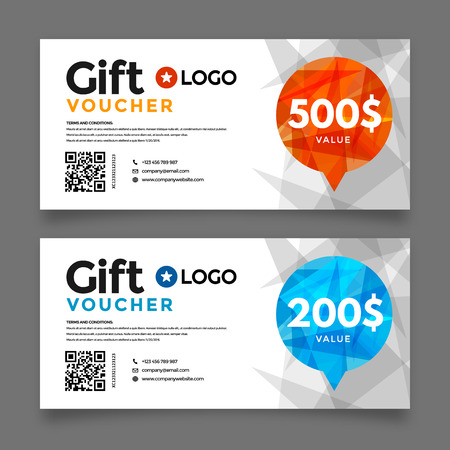 sale tag: Gift voucher template, premium certificate coupon, vector graphic design