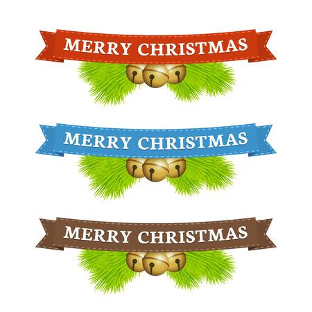 jingle bell: Merry christmas ribbon with jingle bells and fir
