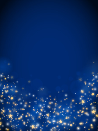 Christmas glittering stars, abstract background, blue color