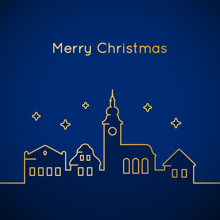 building silhouette: Christmas card - old town outline graphic on blue background