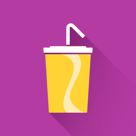 soft drink: Soft drink in paper cup flat icon Illustration