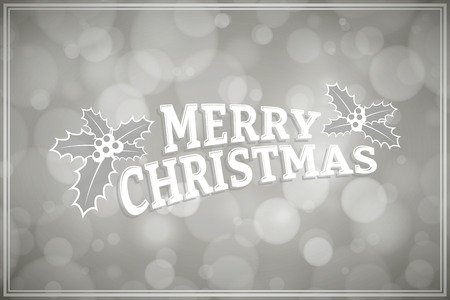 merrychristmas: Christmas greeting card, Text and holly design elements on Silver abstract background