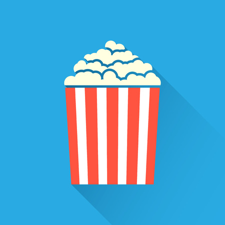 movie and popcorn: Flat popcorn icon on blue background with long shadow Illustration