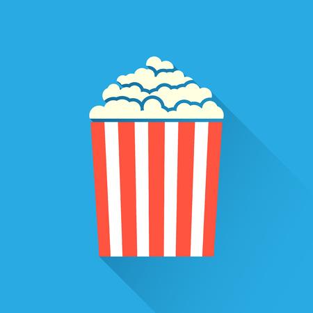 palomitas: icono de palomitas plano sobre fondo azul con una larga sombra