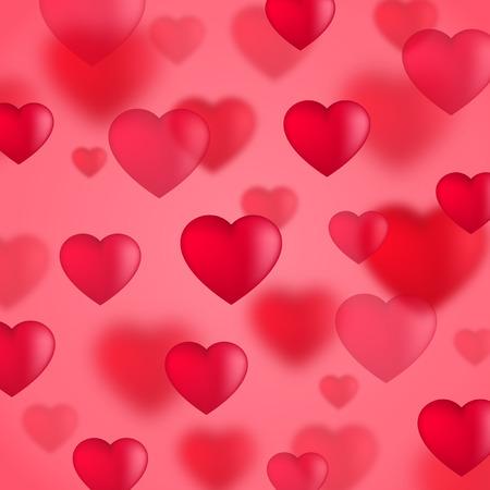 hearts background: Red Valentine hearts background, illustration Illustration