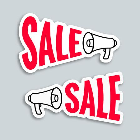 sticker design: Sale megaphone sticker design, vector illustration