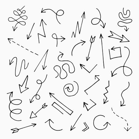 arrow icon: Hand drawn arrow set, vector illustration graphic