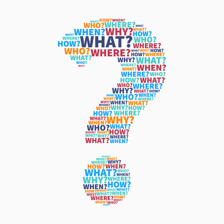 Colorful Question mark from Question words, vector collage