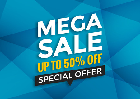 Mega sale banner design, vector illustration, modern Illustration