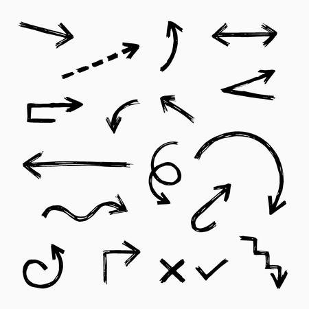 Insieme disegnato a mano della freccia, grafico dell'illustrazione di vettore Vettoriali