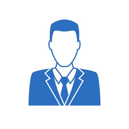 office wear: Man in business suit icon, vector symbol