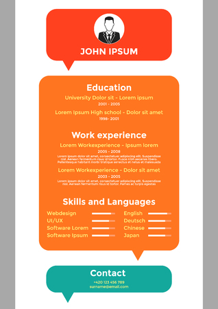resume: CV, resume template, vector graphic design layout Illustration