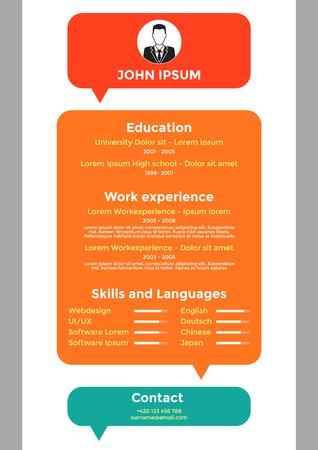 resume: CV, resume template, vector graphic design layout Illustration
