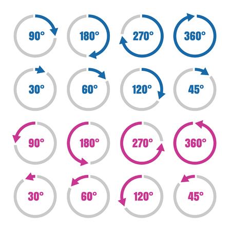 angles: Rotation angles symbols, circles with arrows, vector illustration design Illustration