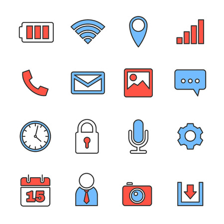 emails: Mobile phone icons set, line vector design Illustration