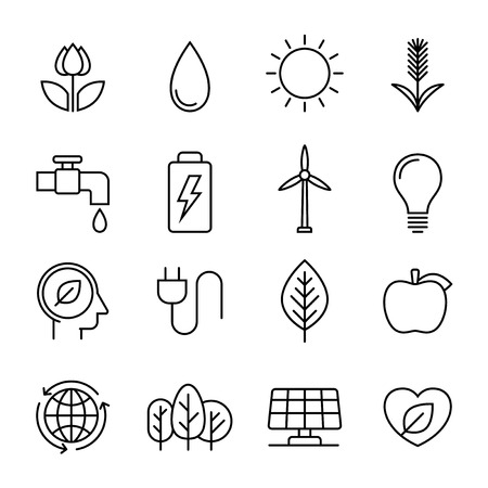 earth pollution: Ecology nature line icons, vector design illustration Illustration