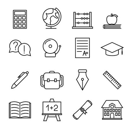 graduated: Educational study line icons, vector design illustration