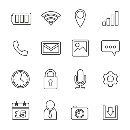 PHONE LINE: Mobile phone icons set, line vector design Illustration