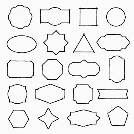 marcos decorativos: formas drenados lápiz, negro, vector, ilustración, diseño Vectores