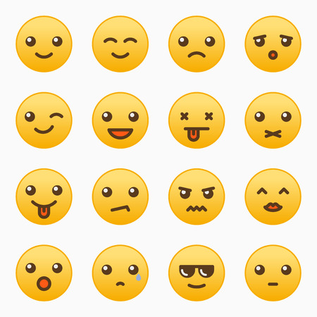 Yellow emoticons set vector graphic design illustration
